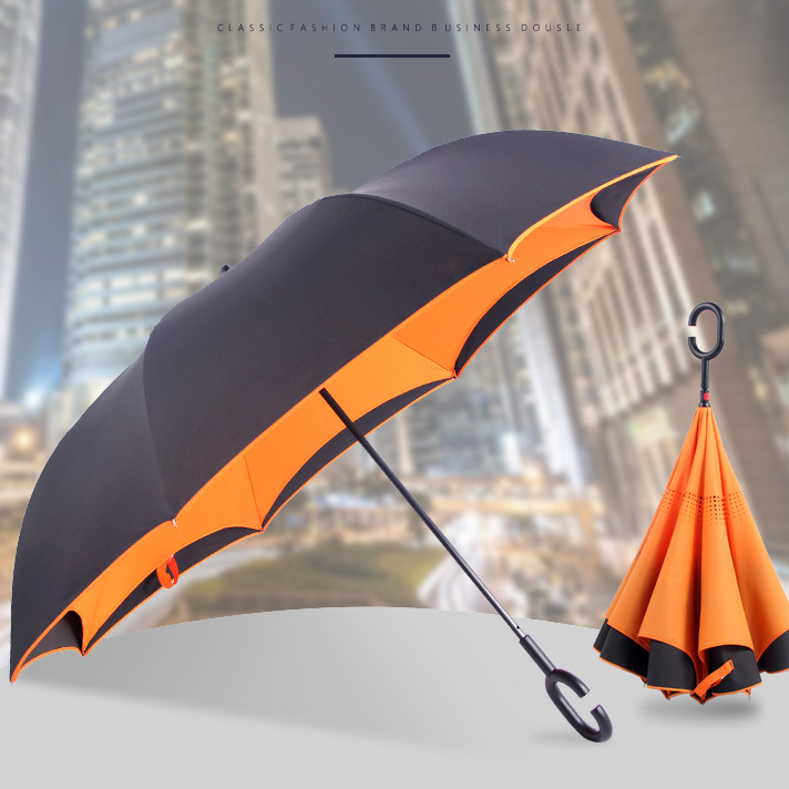 210T large windproof double canopy Reverse Outdoor Golf Umbrella, Inverted Umbrella