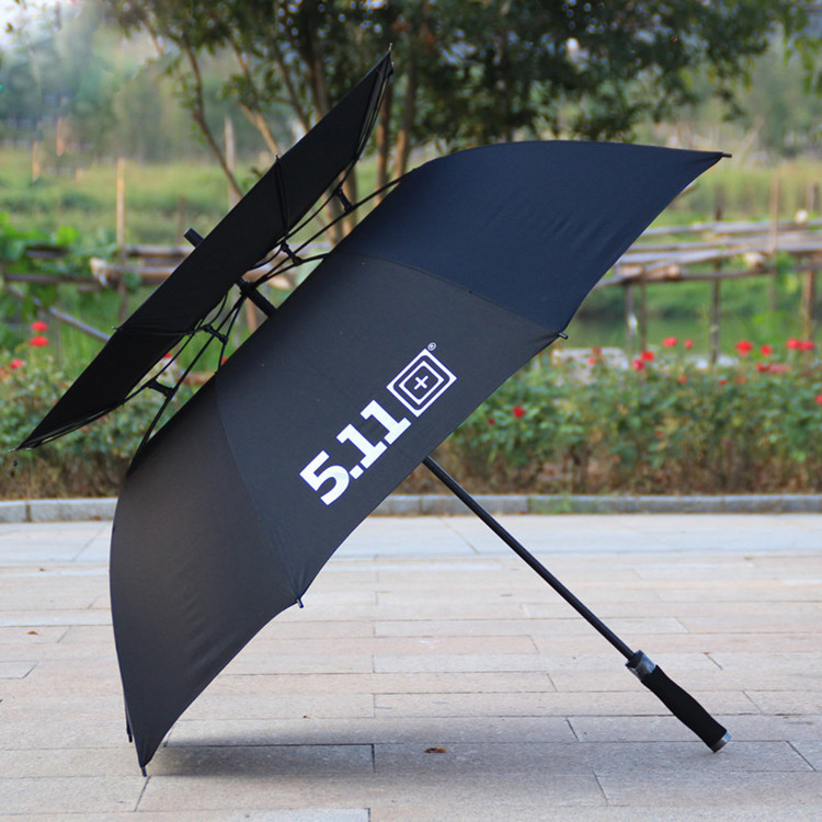 "30"" large 190T windproof double canopy golf umbrella with long handle"